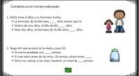 Colección de sencillos problemas matemáticos para resolver mentalmente. El objetivo del ejercicio es completar con el número correcto los enunciados relacionados con los problemas matemáticos.