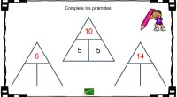 Sencilla actividad para trabajar el doble y mitad de un número, para ello hay que completar las pirámides con los números correctos. Fíjate en el ejemplo.