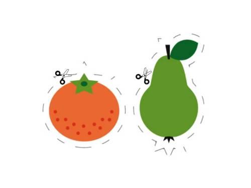 Aprendemos a recortar con frutas y verduras