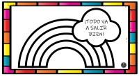 Dibujos para colorear arcoiris «Todo va a salir bien»  Descargar en formato PDF dibujos-colorear-arcoiris Plantillas dibujos de arcoíris en balcones #yomequedoencasa