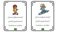 La siguiente actividad está pensada para trabajar la expresión oral y la imaginación a través de las descripciones de los niños que aparece en cada tarjeta.