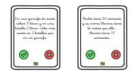 Os dejamos unas bonitas y sencillas tarjetas verdadero falso manipulativas con pequeños retos o desafíos matemáticos, diseñados por nosotros.