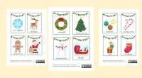 Colección de tarjetas de vocabulario de Navidad en mayúscula y minúscula. Disponible en español e inglés. Listas para descargar, imprimir y plastificar.