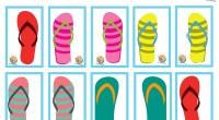 Un juego contextualizado, en el veranito que se asoma, para trabajar la atención. Observamos, buscamos las parejas, describimos colores, formas… ¡ Que llega el veranito! ¡A por las chanclas!