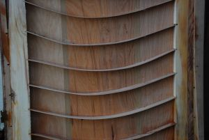 Inside a hollow core door - thin wooden slat design