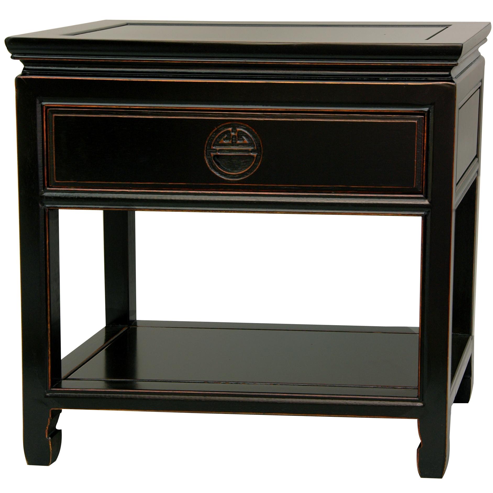 Details About Oriental Furniture Rosewood Bedside Table Antique Black