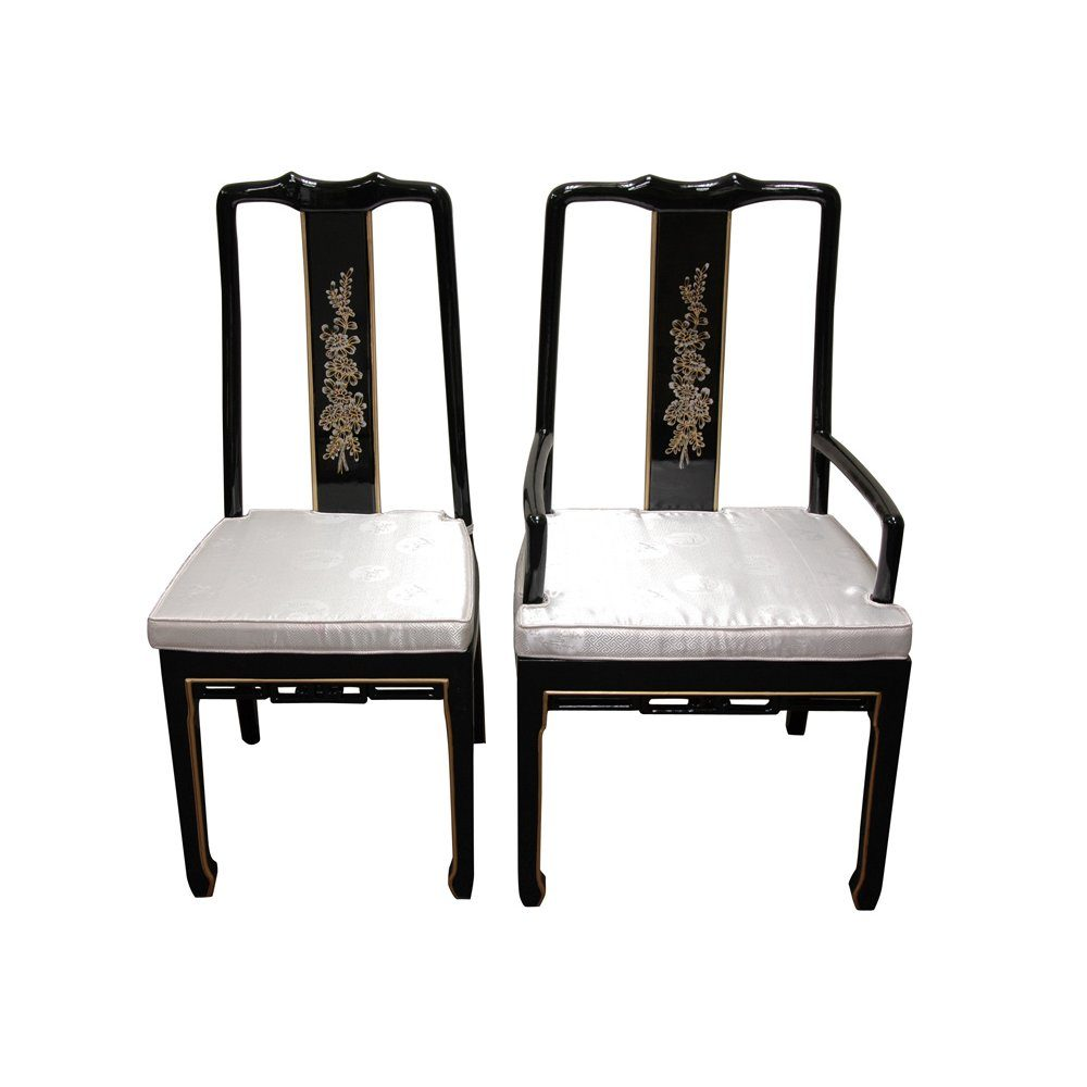 hand painted on black lacquer dining table w 6 chairs on hand painted dining room tables id=86650