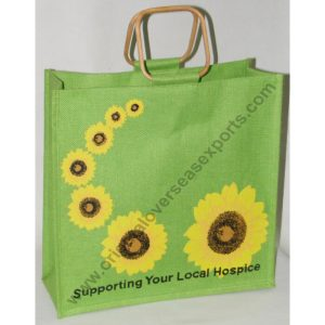 Printed Jute Bag With Cane Handles with Sunflower print.