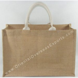 Natural Jute Bag With Soft Cotton Web Handles & an inside Jute Pocket