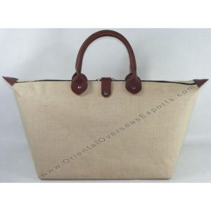 Laminated Jute Cotton Shopping Bag with Real DDDM Leather handles and trims
