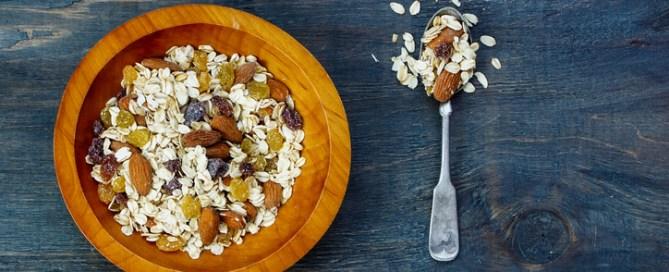 Bowl of bircher muesli for healthy breakfast