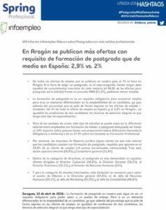VIII Informe Infoempleo Adecco sobre Postgrados con más salidas profesionales en Aragón 2018