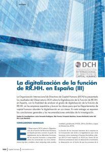 La digitalización de la función de RR.HH. en España III vía la Organización Internacional de Directivos de Capital Humano DCH