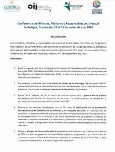 Pacto Juventud 2030 XXVI Cumbre Iberoamericana de Jefes de Estado y de Gobierno 2018