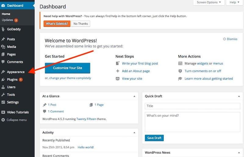 Come avviare un blog: dashboard di WordPress