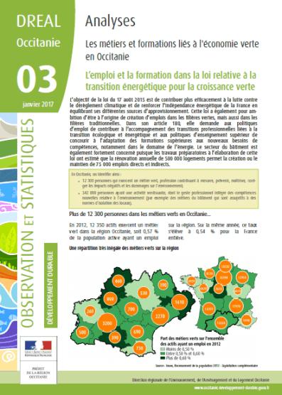 emploi et formations de l'écnomie verte en Occitanie