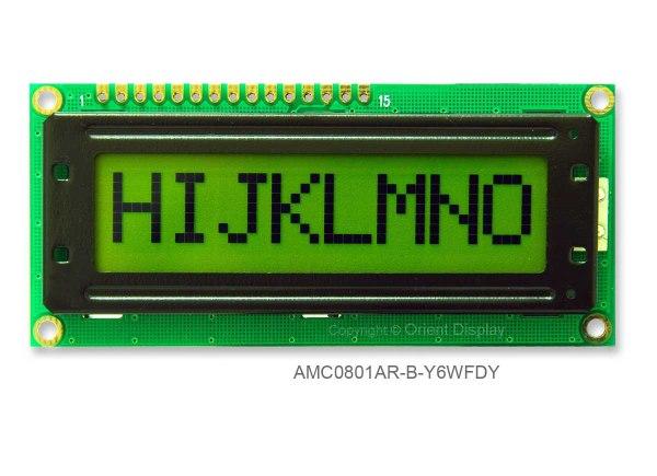 AMC0801AR-B-Y6WFDY (8x1 Character LCD Module)