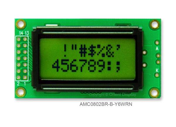 AMC0802BR-B-Y6WRN (8x2 Character LCD Module)
