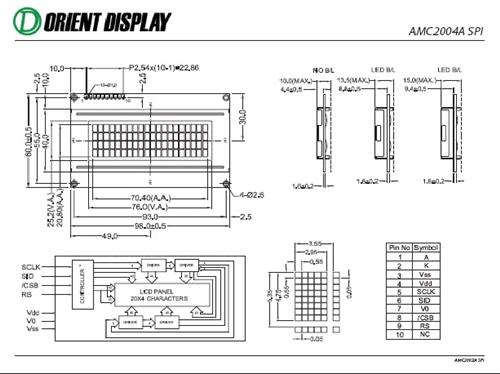 AMC2004AR-B-B6WTDW-SPI (20x4 Character LCD Module - SPI Interface)