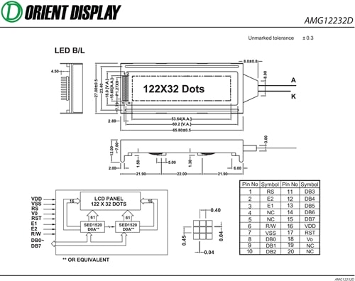 "AMG12232DR-B-B6WTDW (2.2"" 122x32 Graphic LCD Module)"