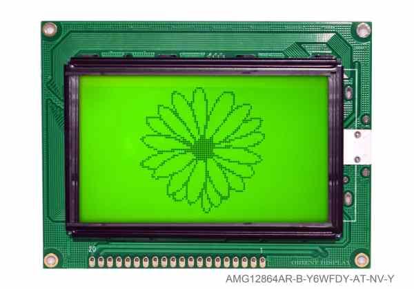 """AMG12864AR-B-Y6WFDY-AT-NV-Y (modulo LCD grafico da 2.9"""" 128x64)"""