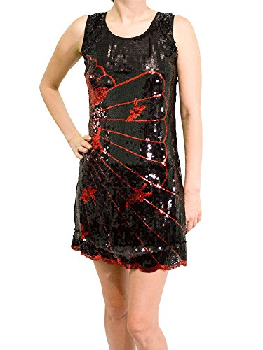 Orient Trail Women's Modern Short Sleeveless Black Sequined Cocktail Dress
