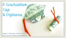 graduation cap diploma money origami origamitree.com