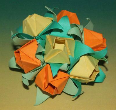 Origami Rose Petal & Calyx, Savina A.K. | http://wp.me/p5AUsW-gx