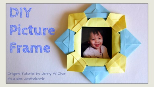 origami picture frame from basket origamitree.com