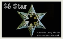 money origami 6 dollar star