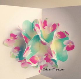 flower pop up card origami origamitree.com
