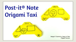 post it note taxi, Jenny W Chan, OrigamiTree.com
