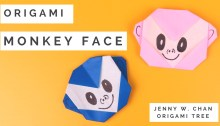 Origami Monkey Face Tutorial Jenny W Chan OrigamiTree.com