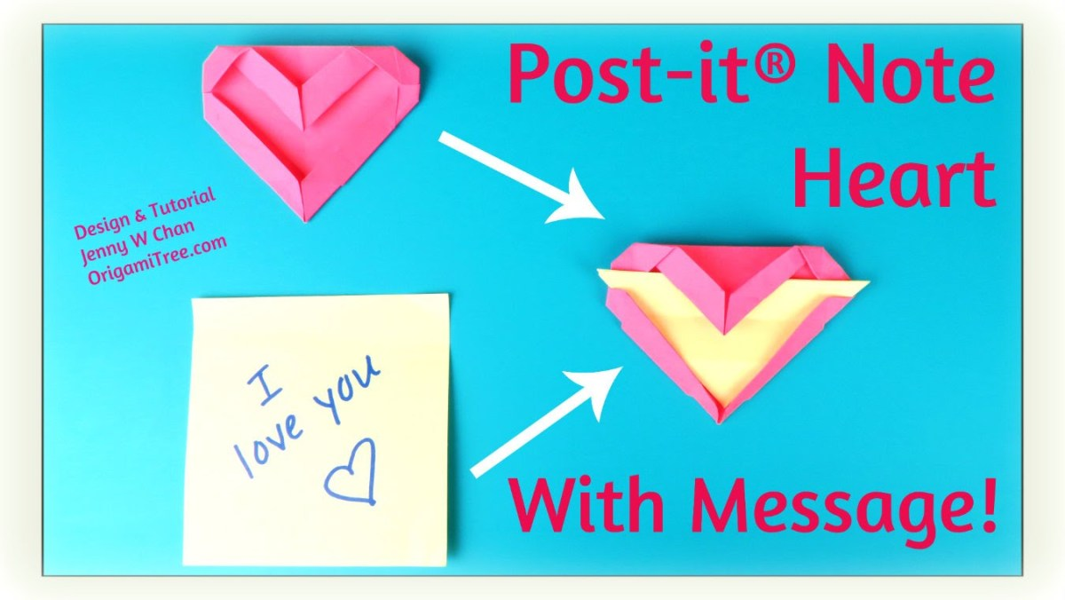 Origami Post-it® Note Heart with Message