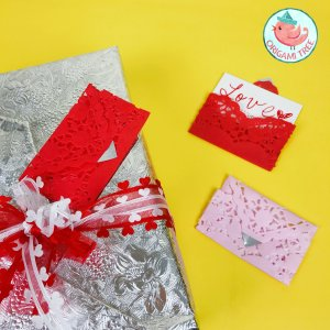 heart doily envelopes tutorial - origami tree