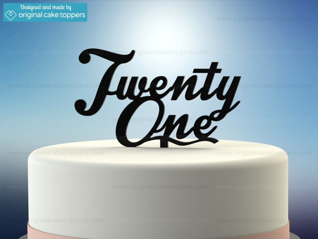 Twenty One Black 21st Birthday Cake Topper