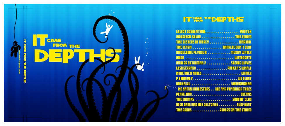 It Came From The Depths - full layout depicting a squid attacking swimmers in the sea, in the style of fifties/sixties movie credit titles