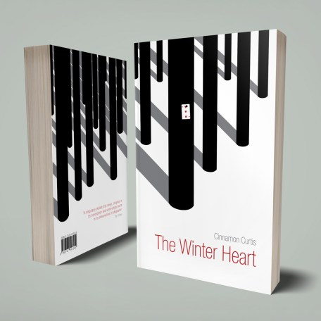 The Winter Heart book cover - front and back. Stylised black tree trunks in a blank snowy landscape. One tree has a 3 of Hearts playing card pinned to it's trunk.