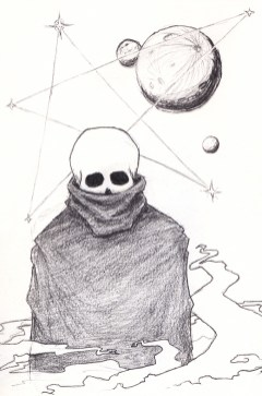 A small, skull-faced, robed figure in front of cosmic chrts, planets and constellations
