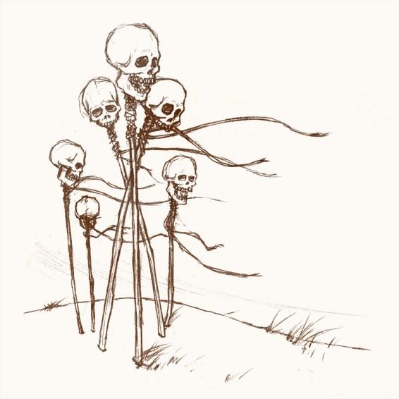 Many skulls on poles in a windswept wasteland