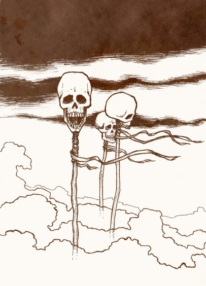 Three skulls on poles in a windswept misty wasteland