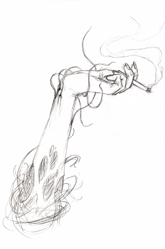 A womans arm; hand holding a cigarette, with flesh ripped open by tentacle-like wires bursting out from below the skin