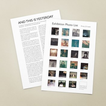 A4 seets with an illustrated cataloue of photos and artist information