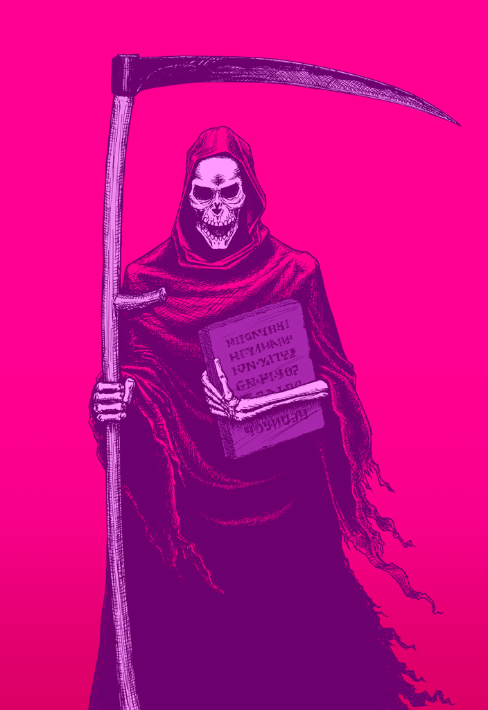 Brightly coloured illustration of a grim reaper figure with scythe and tablet