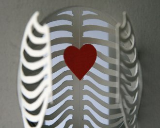 'Cardiothoracic' tunnel book/card: close-up of the (anatomically incorrect) heart