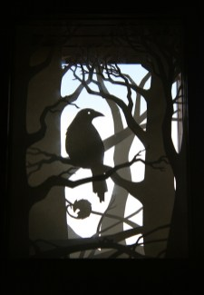 Crow Wood paper-cut viewpane