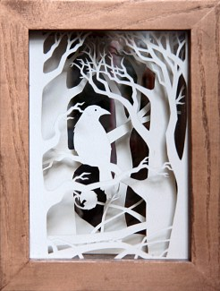 Crow Wood paper-cut viewpane (front)