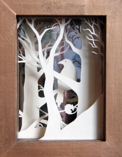 Crow Wood paper-cut viewpane (back)