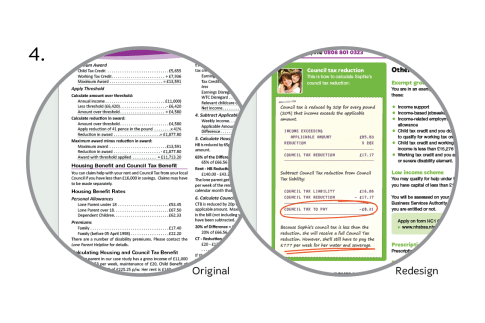 In the redesign, calculations are clearly annotated with key concepts highlighted. Friendly styling employed to make them less intimidating to the casual reader.