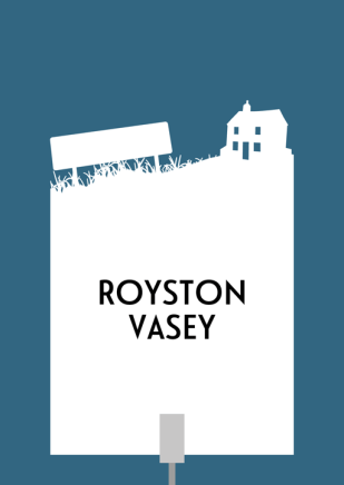 Design for a papercut wedding table name sign with the silhouette of the town sign and local shop